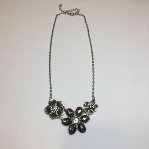 Silver Floral Fashion Statement Necklace